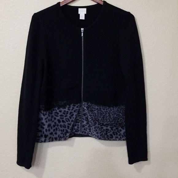Chico's Black and Leopard Print Zip Up Cardigan